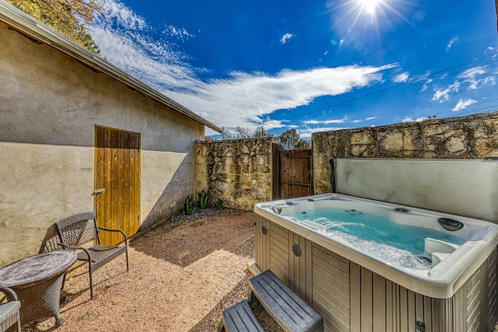Unique home w/private hot tub, garden views, and creek in the backyard!