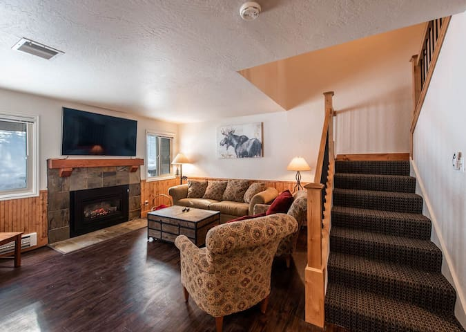 Living Room with Fireplace.  Easy Relaxing with Cable and WiFi.  Pull out sofa bed.
