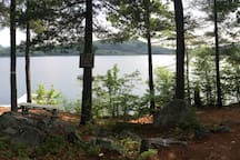 Newly added lakefront access with plenty of water toys - a large dock, swim platform, fire pit and picnic table