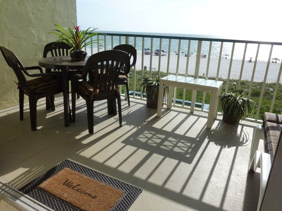 Private balcony with table