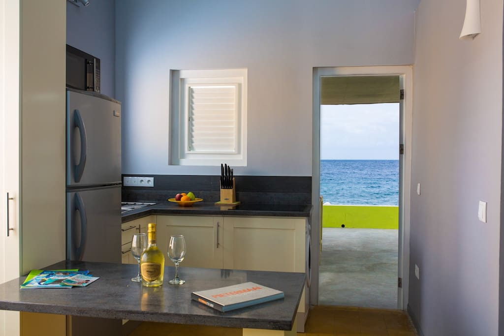 Kitchen looking at the Caribbean Sea