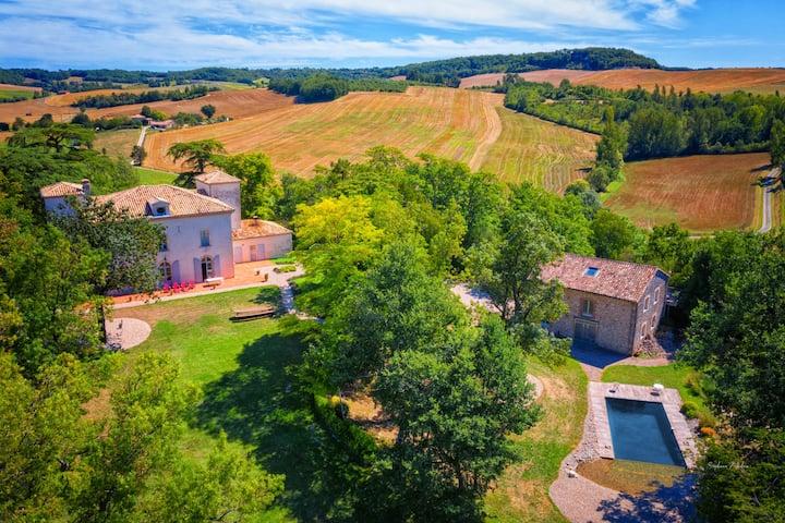 Château, Parc centenaire, Piscine au coeur du Tarn