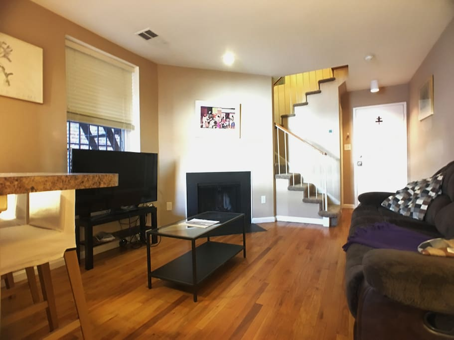 Duplex layout means you don't need to bother a person sleeping upstairs as you watch Netflix!