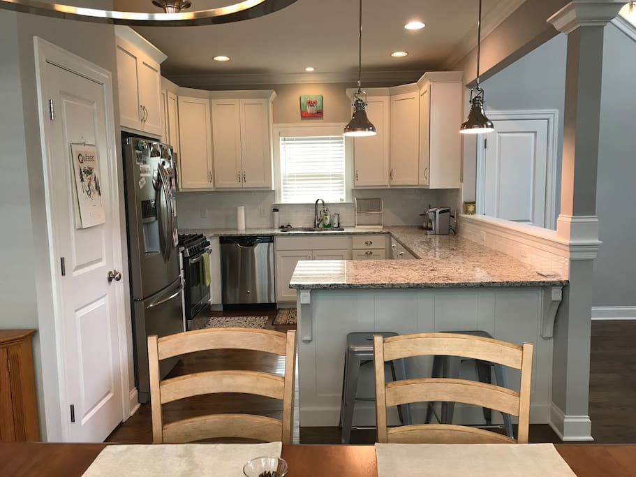 Full kitchen with breakfast bar seating for two. You will find everything here to cook your own meals!