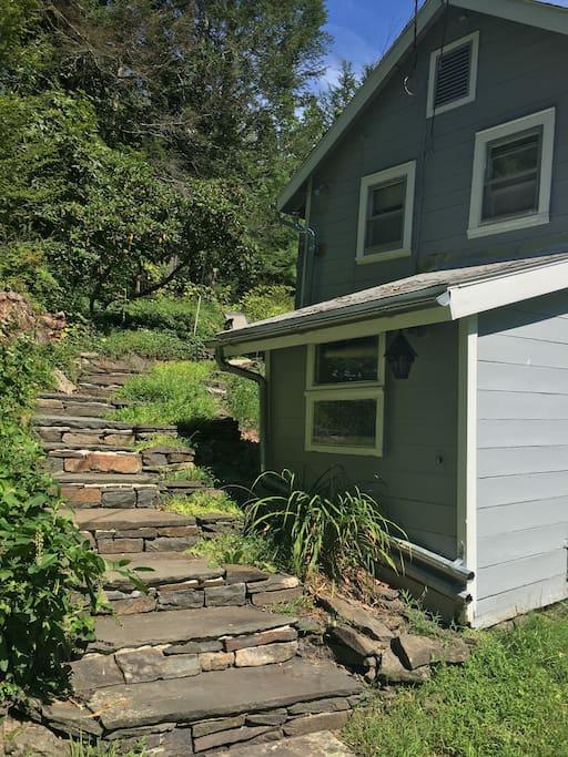 Handmade stone entry steps