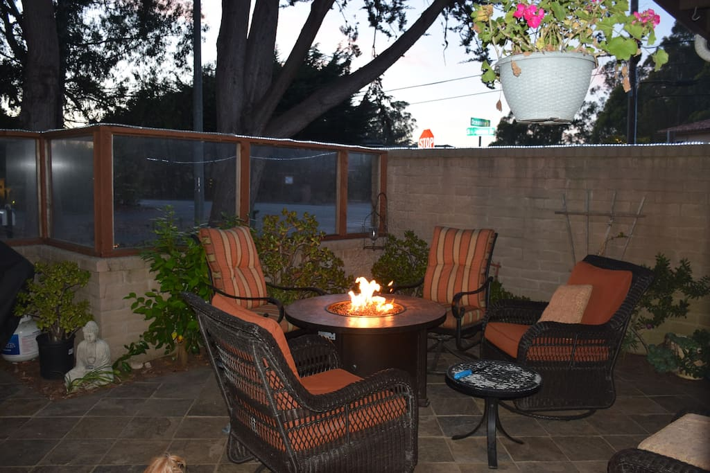 Front patio with outdoor fire table