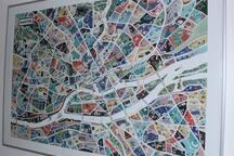Carte de Nantes illustrée par l'artiste Antoine Corbeau.