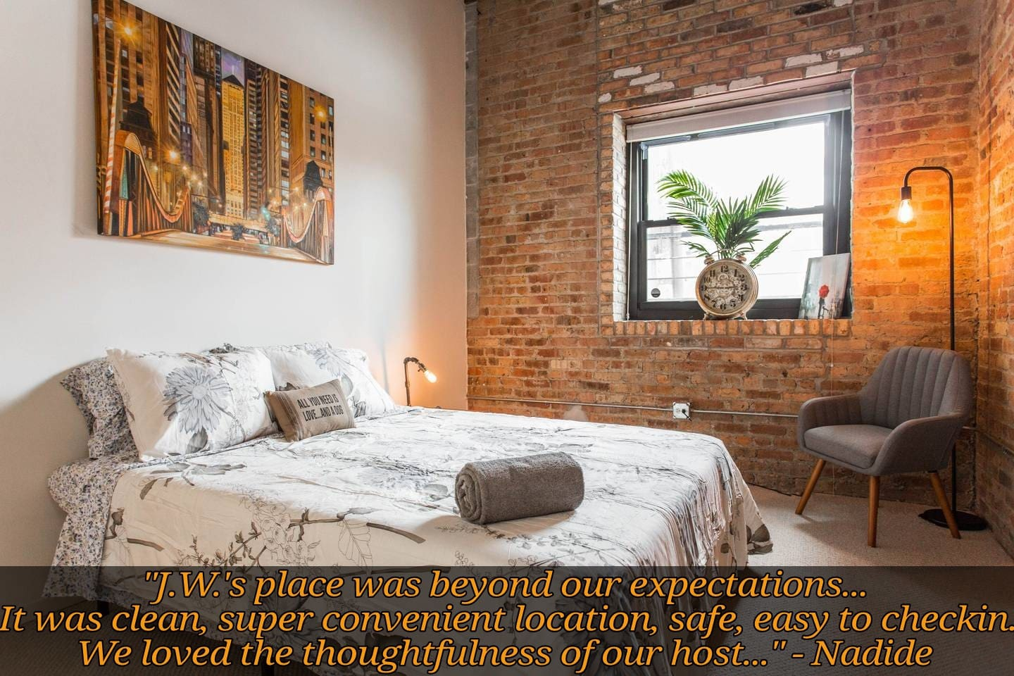 Welcome to our spacious 2bd/1ba loft (with a 1bd Den) only steps to McCormick, the best museums, and Lake Michigan!  Shown is a big comfy queen bed