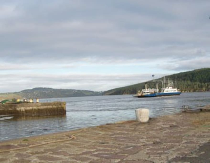 Passage harbour with the car ferry coming in