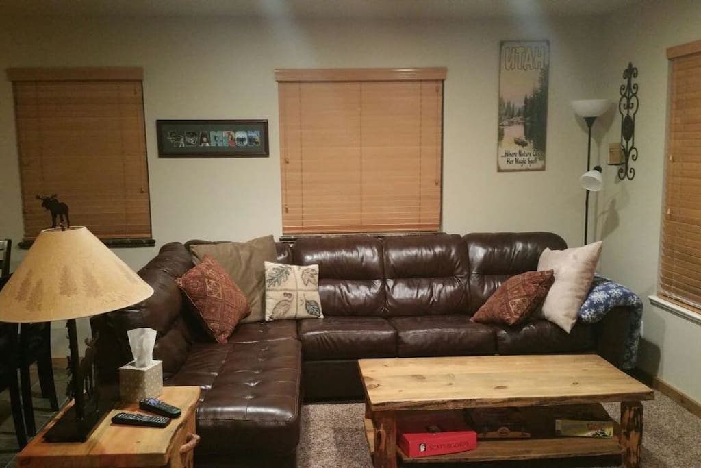Family Room has a large corner group which makes into a queen fold out bed