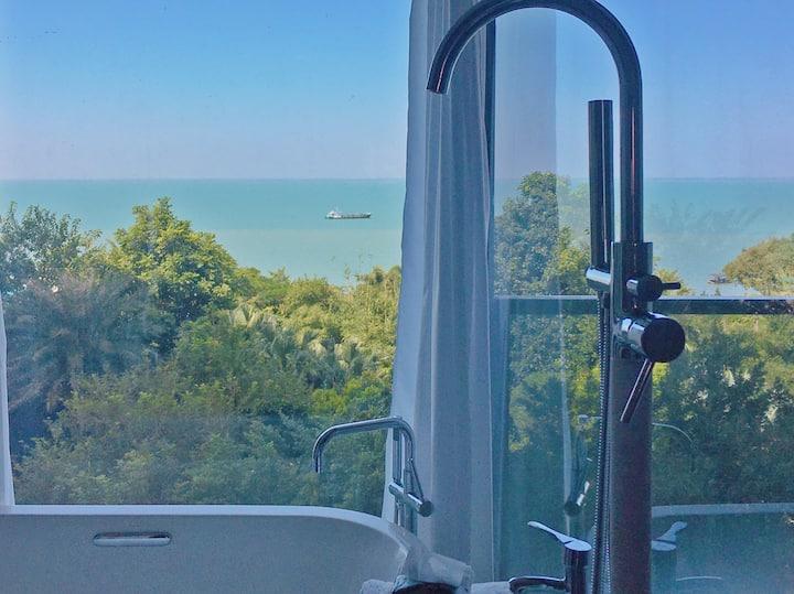 乐园的房子☀️海景🌊浴缸🛁投影🎬度假风⛱️summer🌵