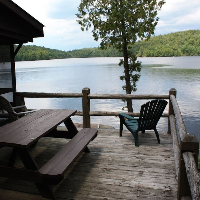 Waterfront deck overlooking Kiwassa Lake - great sunset views