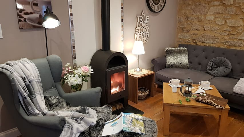 Relax with a good Book and a Cuppa by the warm fire. The Sofa in the living area converts to a double Bed .