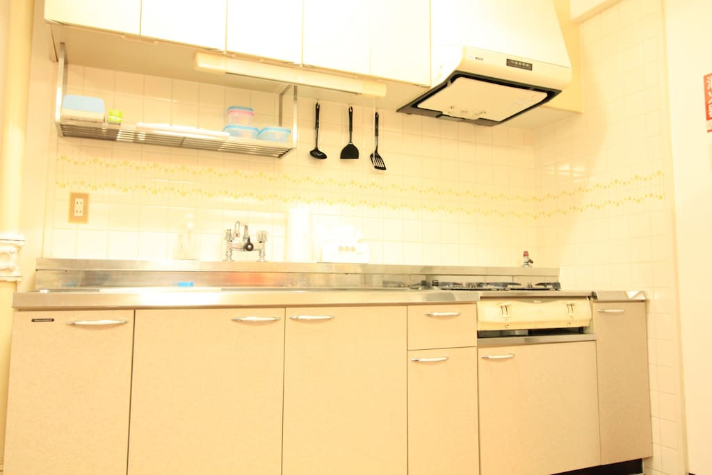 Fully functioning kitchen, it has more stuff now than at the time of photo