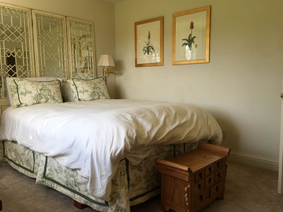 Queen bed with hall bath