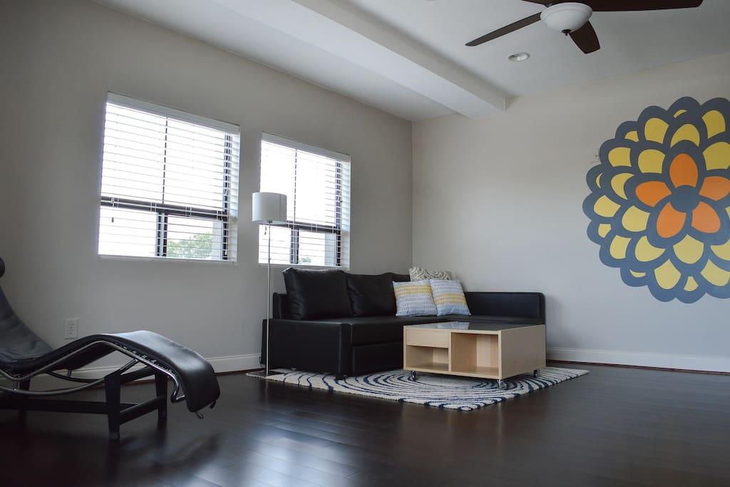 Living room with custom art