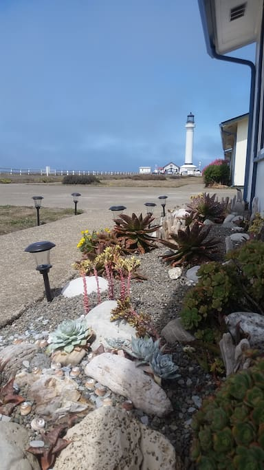 Looking at the Lighthouse from the front door of House 4