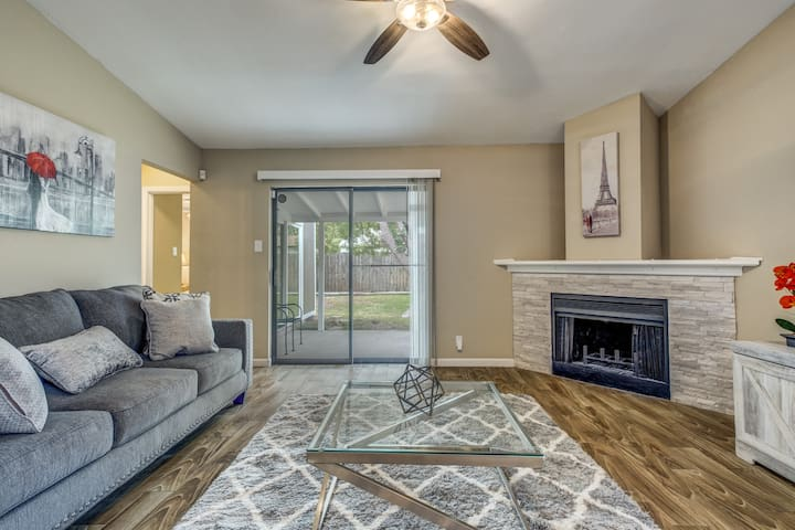 Open Family room with smart TV