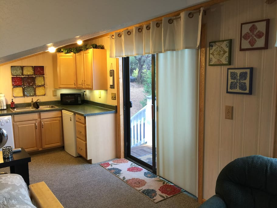 View from sitting area across to kitchenette