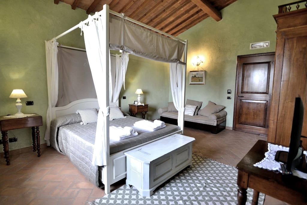 One of the 7 Bedrooms. 6 Double bedrooms with queen size beds and 1 Twin Bedroom with 2 comfortable single bulkhead beds! Fast WIFI internet connection. Air Conditioning. Also TV in all bedrooms.