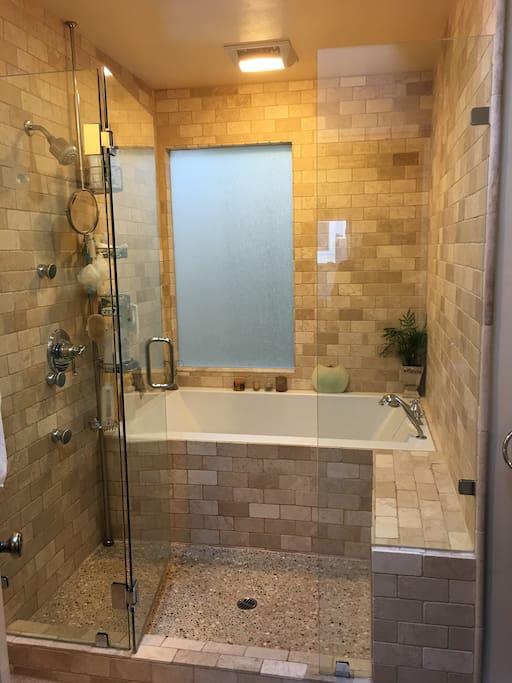 Master bathroom, shower and bath.