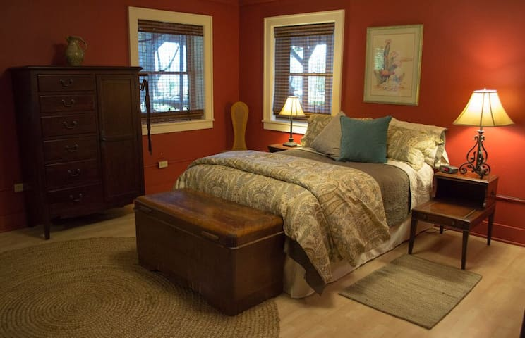 Large but cozy bedroom with sitting area
