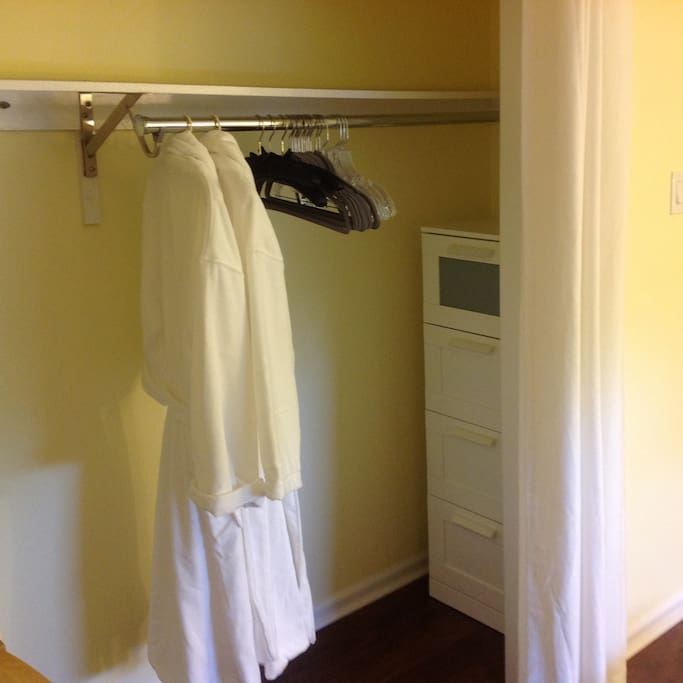 Complimentary guest bathrobes, plenty of hangers and drawers in your closet.