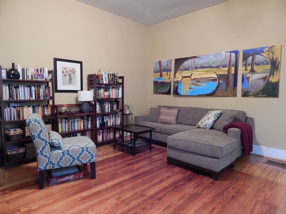 Living room with comfortable sectional couch.