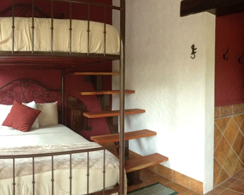 Queen sized bunk beds with stairs