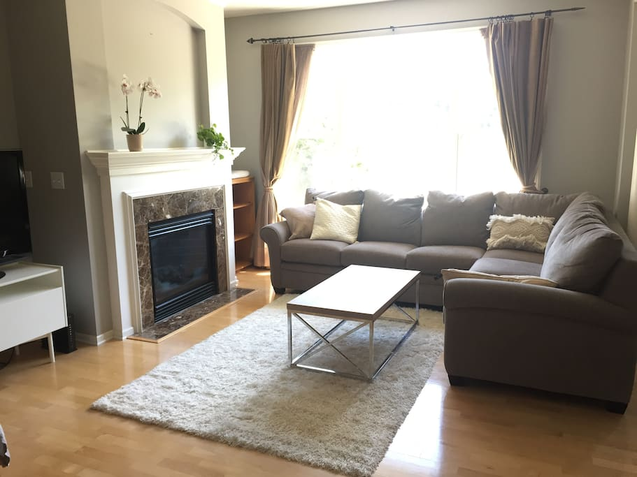 Comfy sectional and tv for streaming