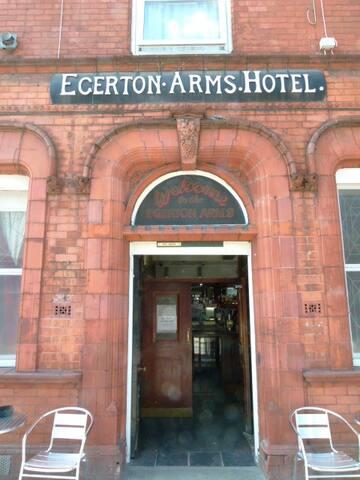 Edwardian brick detail to pub/hotel entrance