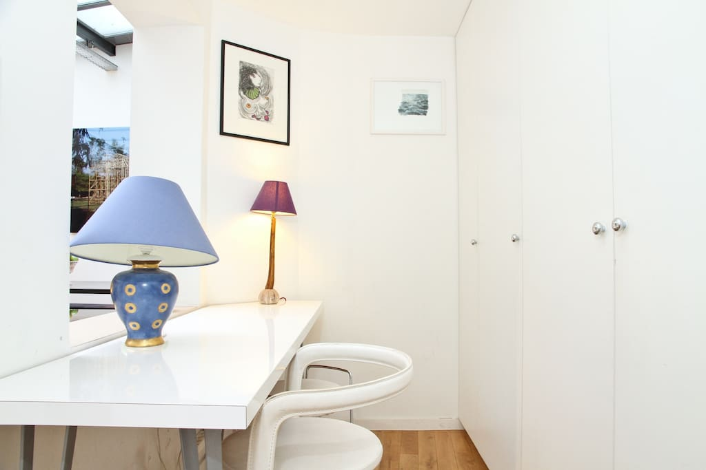The workspace and storage area - free Wifi is available throughout the flat