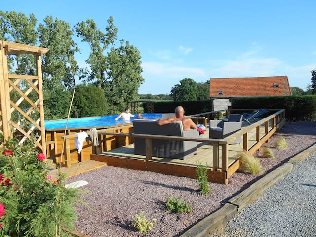 Heated Pool and and sun terrace, solar shower