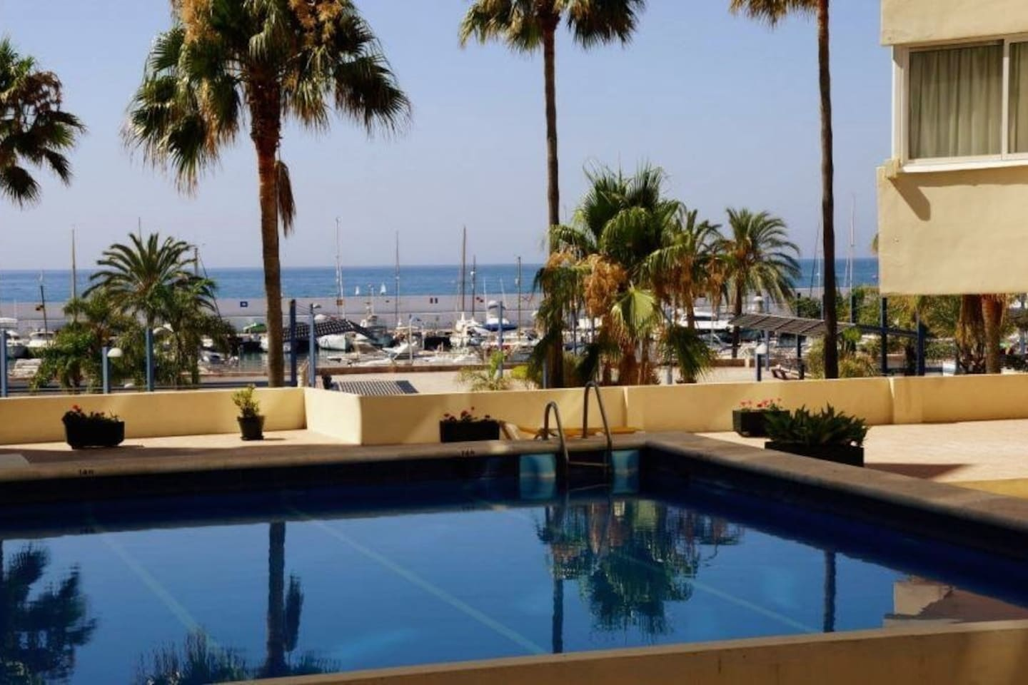 "Our building has a view on Marbella down town Marina. The ""Puerto Deportivo"""