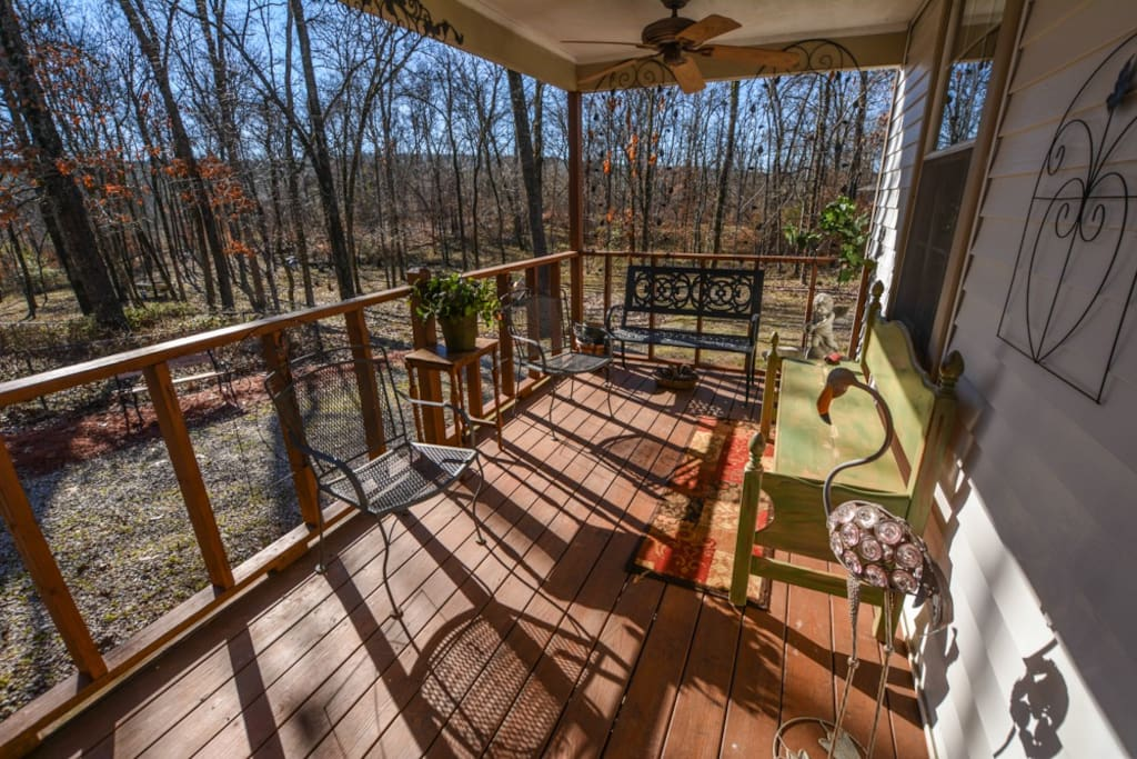 Enjoy your morning cup of coffee on the back deck.