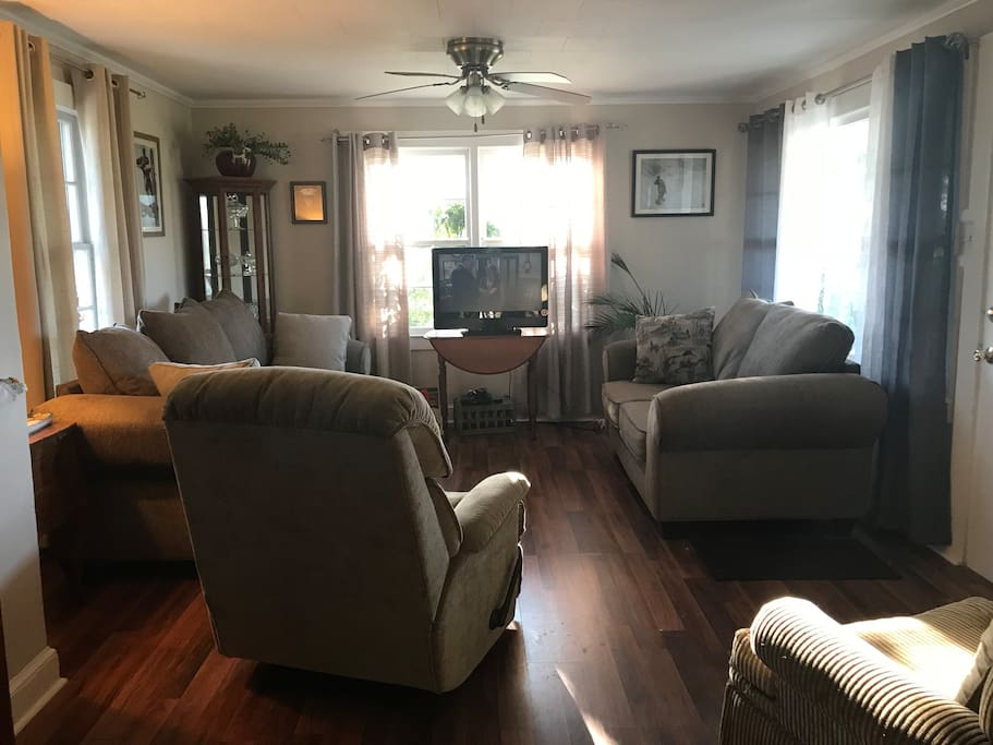 Family room with plenty of seating.