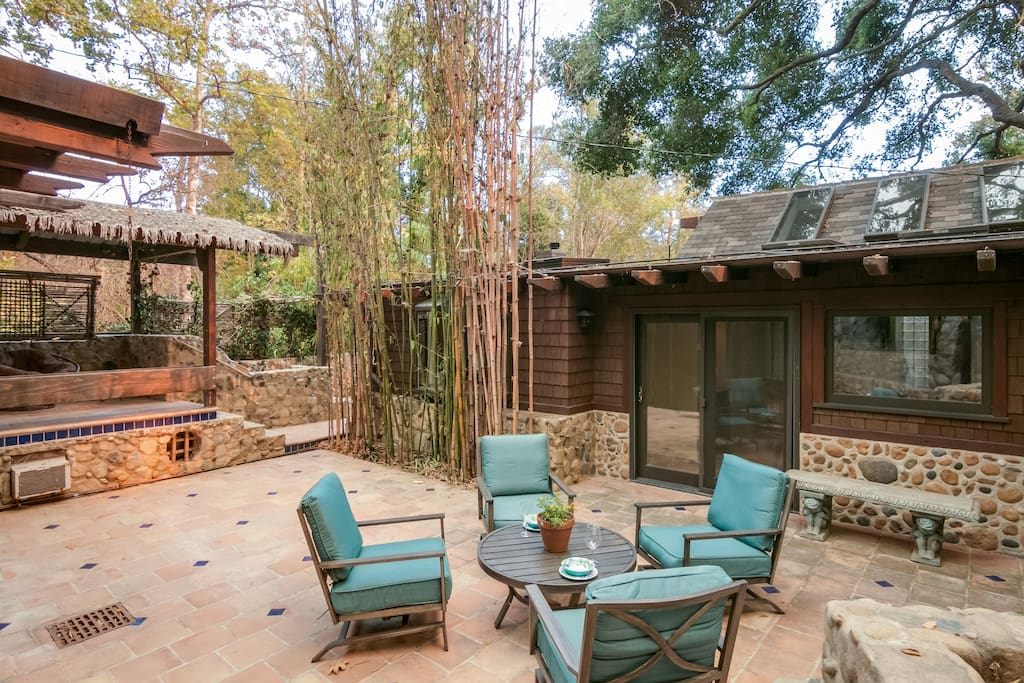 There are three beautifully decorated outdoor areas for you to relax in.