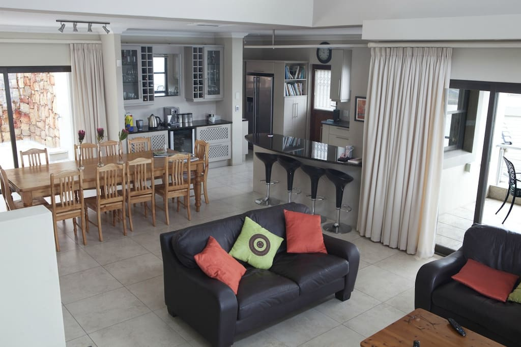The open plan lounge, dining room and kitchen is the heart of the home.