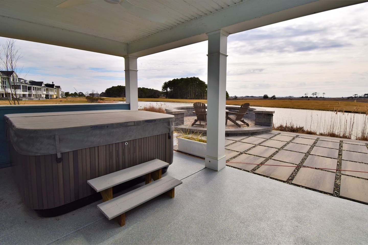Beautiful views from the hot tub and fire pit overlooking water and Ocean City