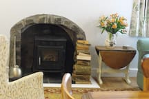 Log fire for cosy romantic evenings