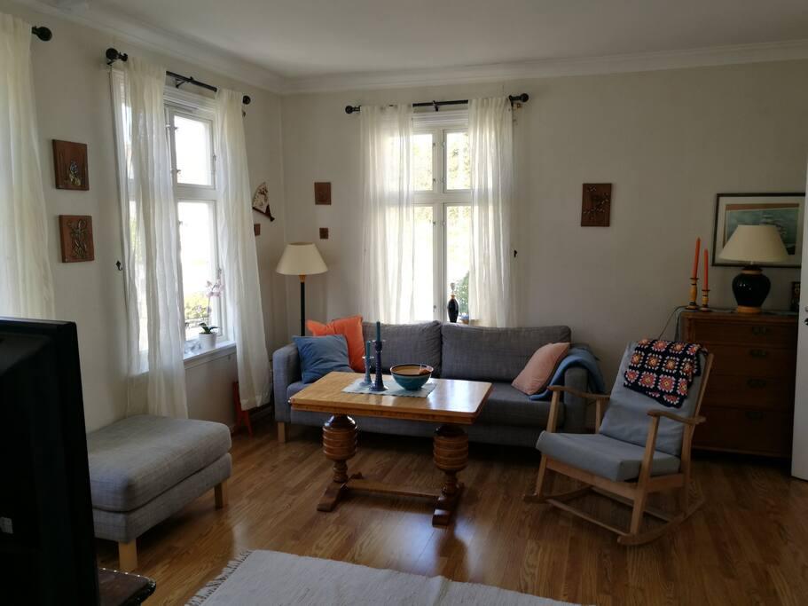 Stue med parabol-Tv og peis