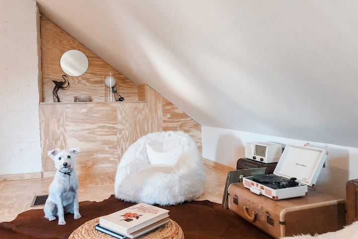 """Our finished attic, aka """"The Japanese Cowboy Attic"""". PS.: doggies are welcome!"""