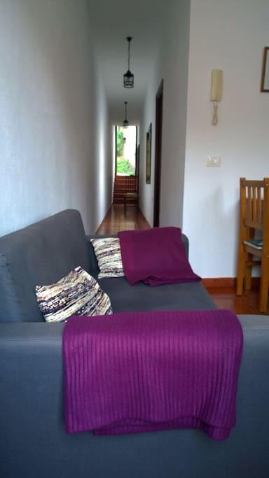 Sofá-cama + vista del pasillo y puerta de entrada.