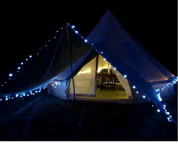 A beautiful 16ft Bell tent set up for you at any of the listed State Forest Campgrounds!  What a great way to spend camping...or glamping.