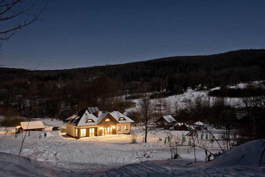 Zima, Buczynowa Dolina, noclegi, Beskid Niski