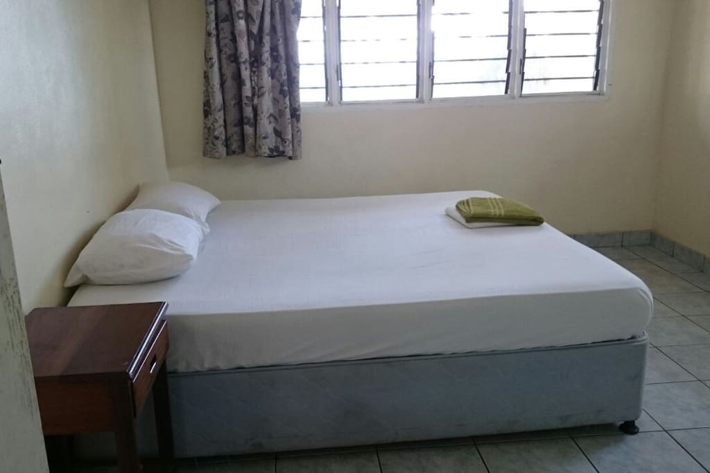 Each room contains a closet and a 6x6 bed with clean sheets and a mosquito net