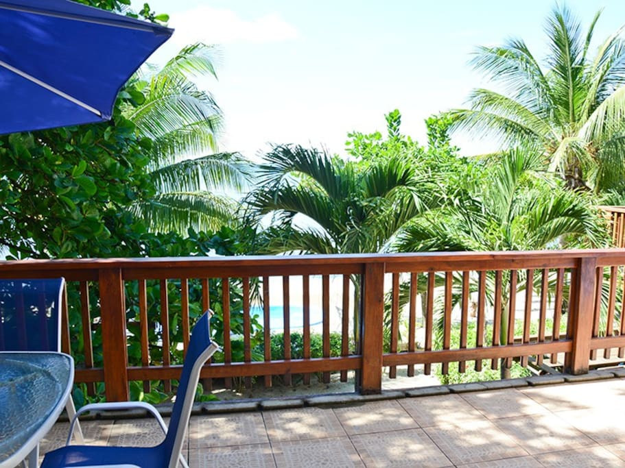 Main floor deck with bar area, loungers and shade.