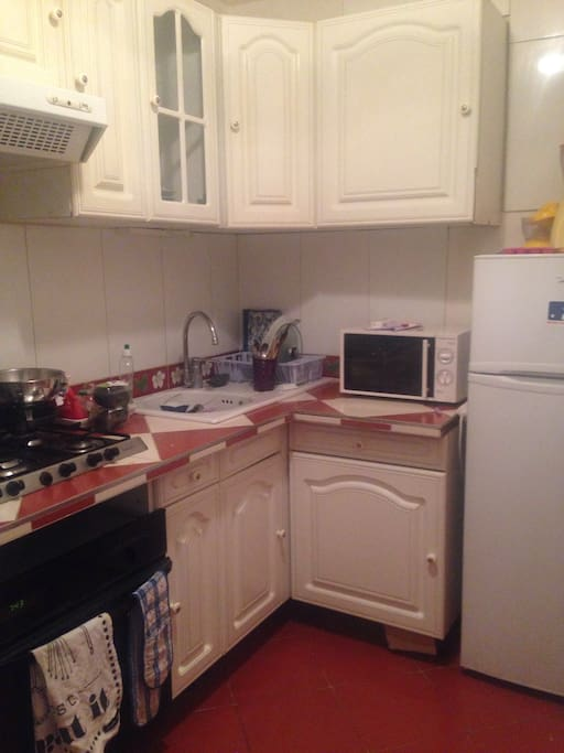 Kitchen with fridge, freezer, microwave, oven