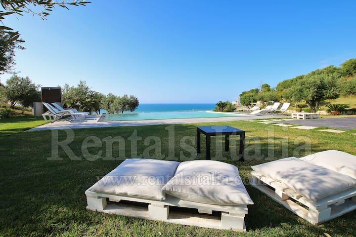 Modern villa with infinte pool,sea view, big land