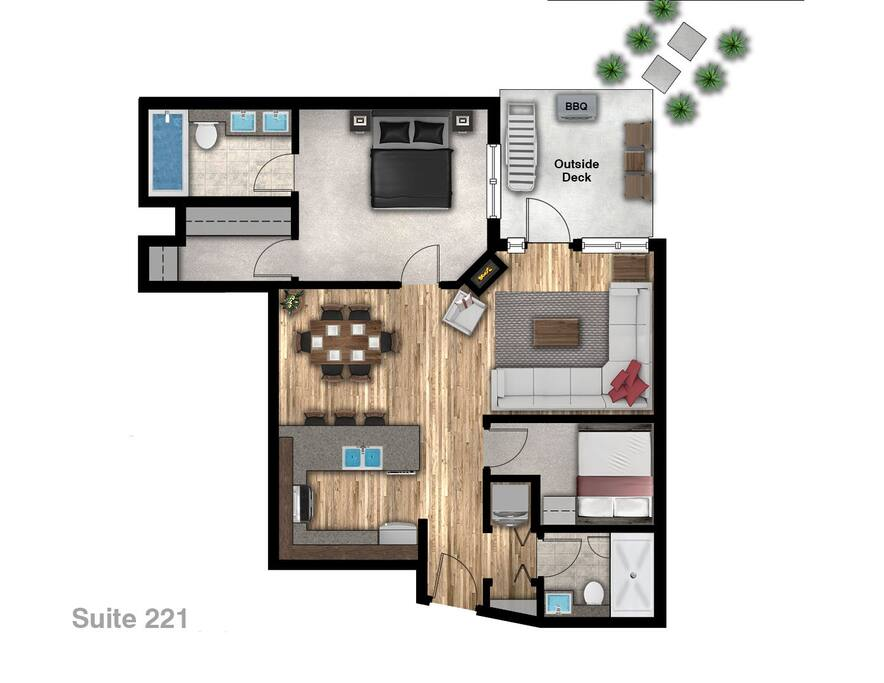 Precise floor plan of the condo complete with both ground level courtyard  and elevator access